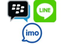 Логотипы BlackBerry, Imo и LINE